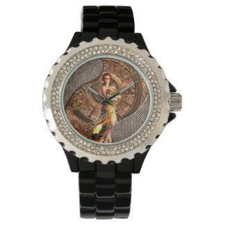 Steampunk, beautiful steam women with clocks wrist watch