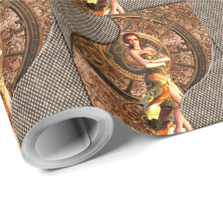 Steampunk, beautiful steam women wrapping paper
