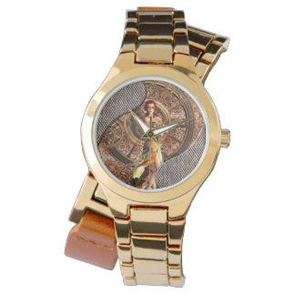 Steampunk, beautiful steam women wristwatch