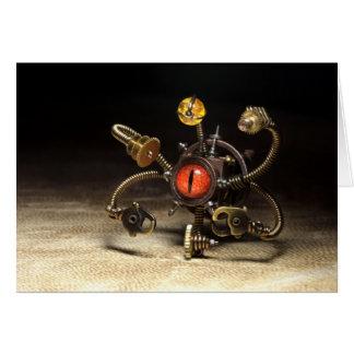 Steampunk Beholder Robot Greeting Card