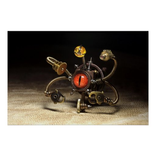 Steampunk Beholder Robot Posters