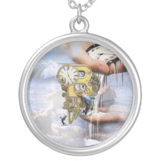 Steampunk birthday letter B Silver Plated Necklace