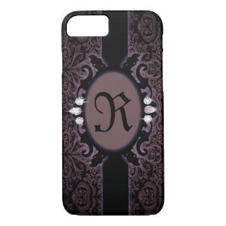 steampunk black plum purple gothic monogram iPhone 7 case
