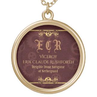 Steampunk brass monogram on maroon gear wheels gold plated necklace