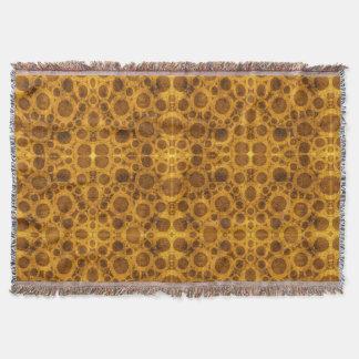 Steampunk Brown Gold Pattern Grunge Throw Blanket