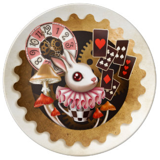 Steampunk Bunny Time Porcelain Plate