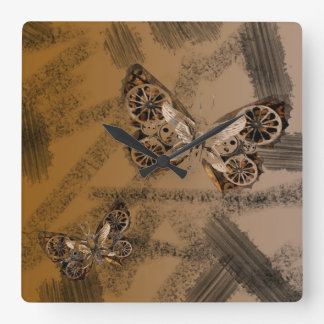 SteamPunk Butterfly Mixed Media Art style Clock