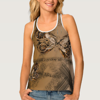 SteamPunk Butterfly Mixed Media Art style Tank Top