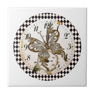 Steampunk Butterfly Round Ceramic Tile