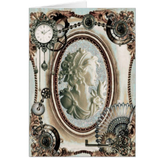 Steampunk Cameo Blue 6x7 Card
