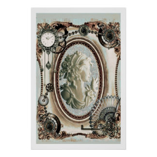 Steampunk Cameo Blue Poster