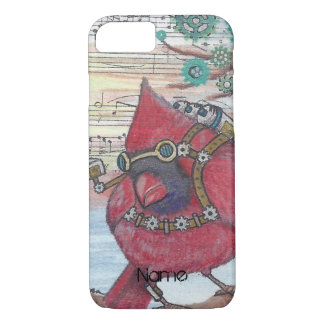 Steampunk Cardinal Spy Bird Art Print iPhone 8/7 Case