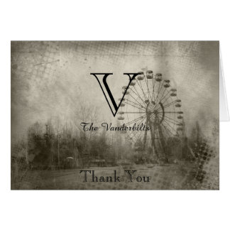 Steampunk Carnival Top Hat Wedding Thank You Card