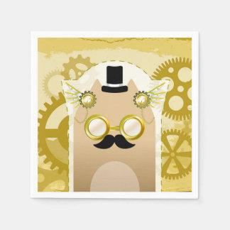 Steampunk Cat Cocktail Paper Napkins