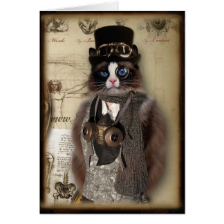 Steampunk Cat Custom Notecard