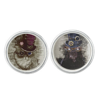 Steampunk Cat Dog Cuff links