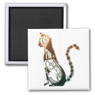 Steampunk cat magnet