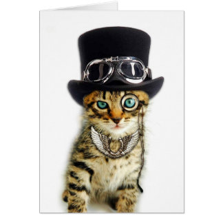 Steampunk Cat Note Card