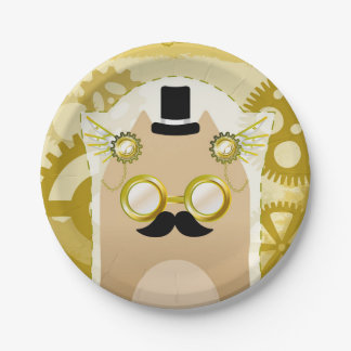 Steampunk Cat Paper Plates