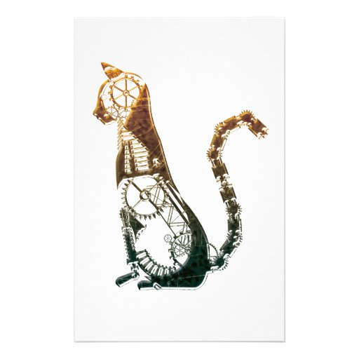 Steampunk cat stationary personalised stationery