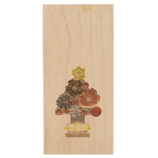Steampunk Christmas Tree Wooden Pendrive Wood USB Flash Drive