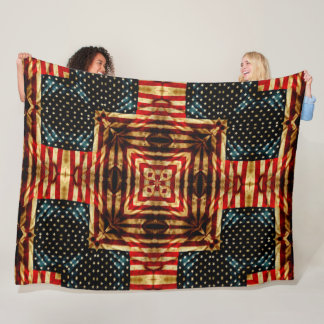 Steampunk Civil War Retro American Flag Quilt Fleece Blanket