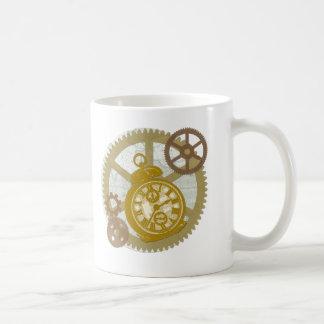 Steampunk Clock and Gears Classic White Coffee Mug