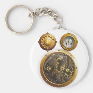 Steampunk clock basic round button keychain