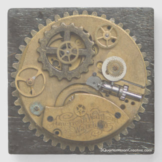 Steampunk Clock Drink Coaster, SciFi Stone Coaster
