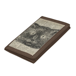 Steampunk Clock Eyes Cat Over Dictionary Page Tri-fold Wallet