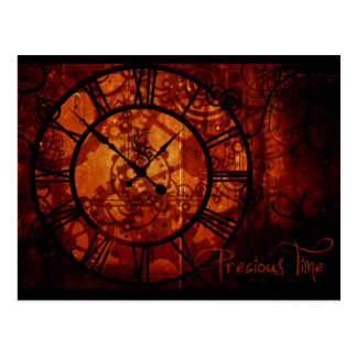 Steampunk clock postcard