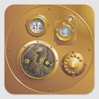 Steampunk clock square sticker