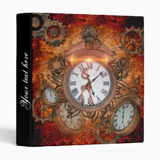 Steampunk, clock with cute giraffe, binders