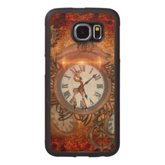 Steampunk, clock with cute giraffe, wood phone case