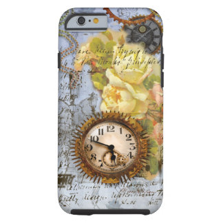 Steampunk Clock & Yellow Roses Tough iPhone 6 Case