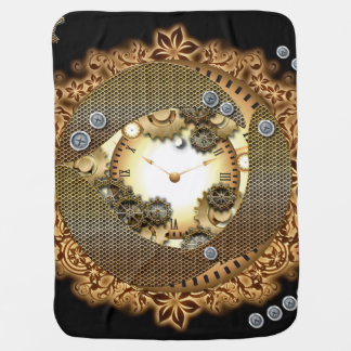 Steampunk, clocks and gears i baby blanket