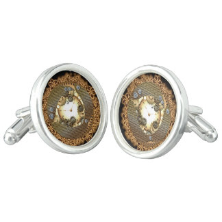 Steampunk, clocks and gears in golden colors cufflinks