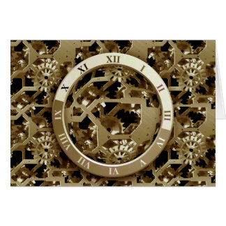 Steampunk Clocks  Gold Gears Mechanical Gifts Greeting Card