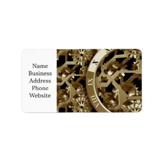 Steampunk Clocks  Gold Gears Mechanical Gifts Address Label