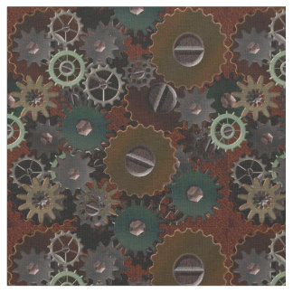 Steampunk Clockwork Gears on Rusty Red Iron Fabric
