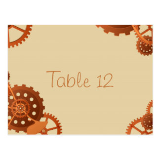 Steampunk Cogs and Gears Wedding Table Number Card Postcard