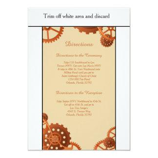 "Steampunk Cogs Gears 3.5x6 Wedding Directions Card 5"" X 7"" Invitation Card"