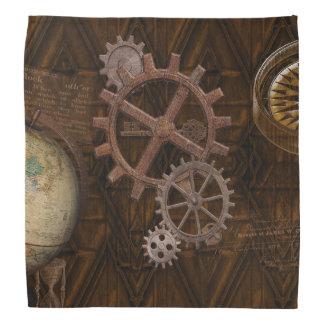 Steampunk Cogs , Gears & World Globe Design Bandana