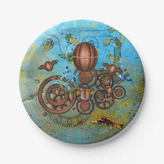 Steampunk Collage Aqua Copper Paper Plates