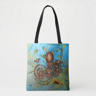 Steampunk Collage Aqua Copper Tote Bag