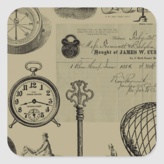 Steampunk Collage Square Sticker