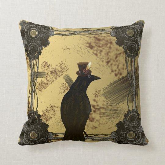 SteamPunk Crow Throw Pillow