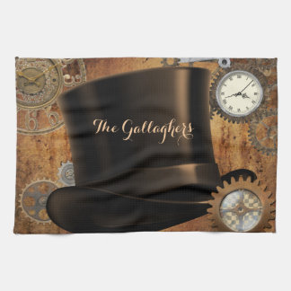 Steampunk Custom Name Kitchen Towel