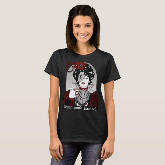 Steampunk Damsel Illustration Black Shirt