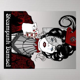 Steampunk Damsel Illustration Victorian Poster